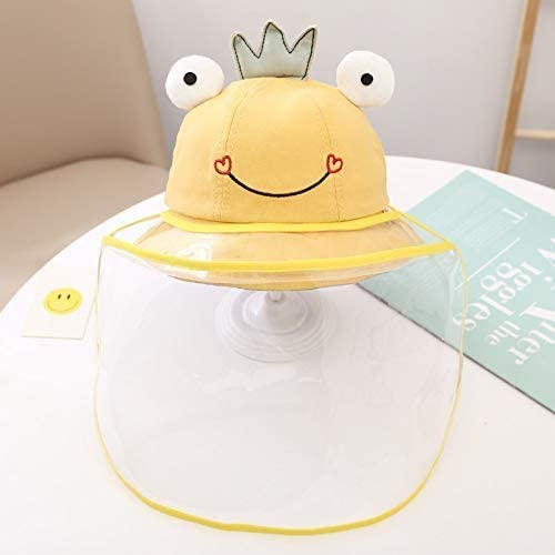 Kid Cute Frog Crown Design Anti Droplets Sun Protection Full Face Hat Removable Windproof Dustproof Protective Cap for Outdoor 6 months to 2 years Old (Yellow)