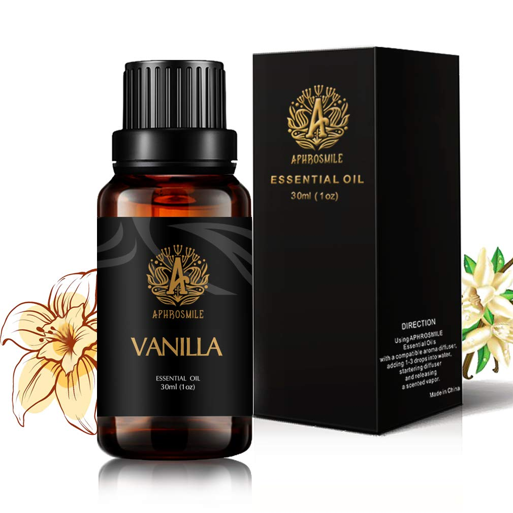 Aromatherapy Vanilla Essential Oil for Diffuser, 30ml Organic Vanilla Essential Oil for Humidifier,100% Pure Vanilla Essential Oil for Home, Massage,1oz Pure Vanilla Oil for Soap Making,Candle Making