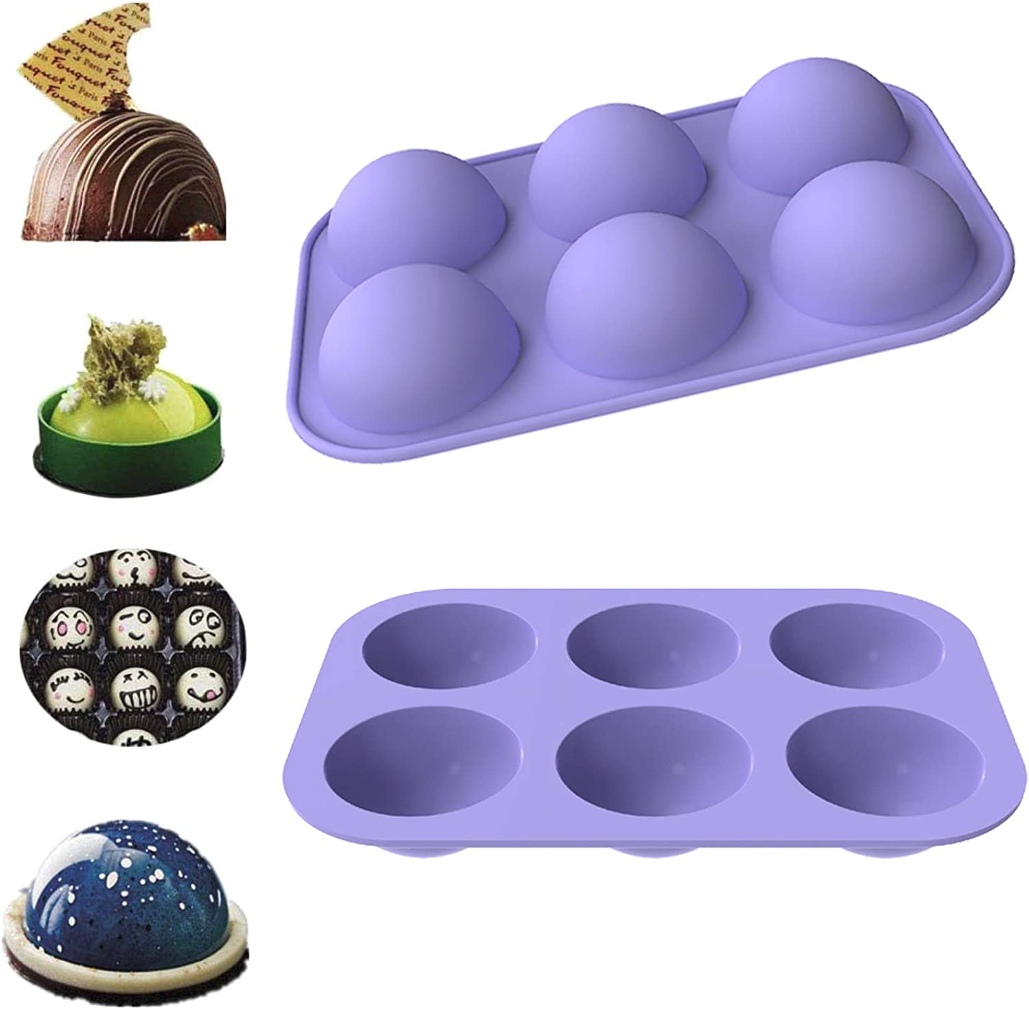 Silicone Chocolate Candy Mold,6 Half 2.2