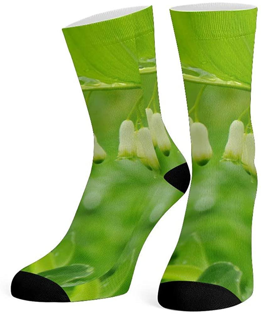 XOZOTY Custom Funny Novelty Green Plant Leaf Crew Socks for Mens Womens