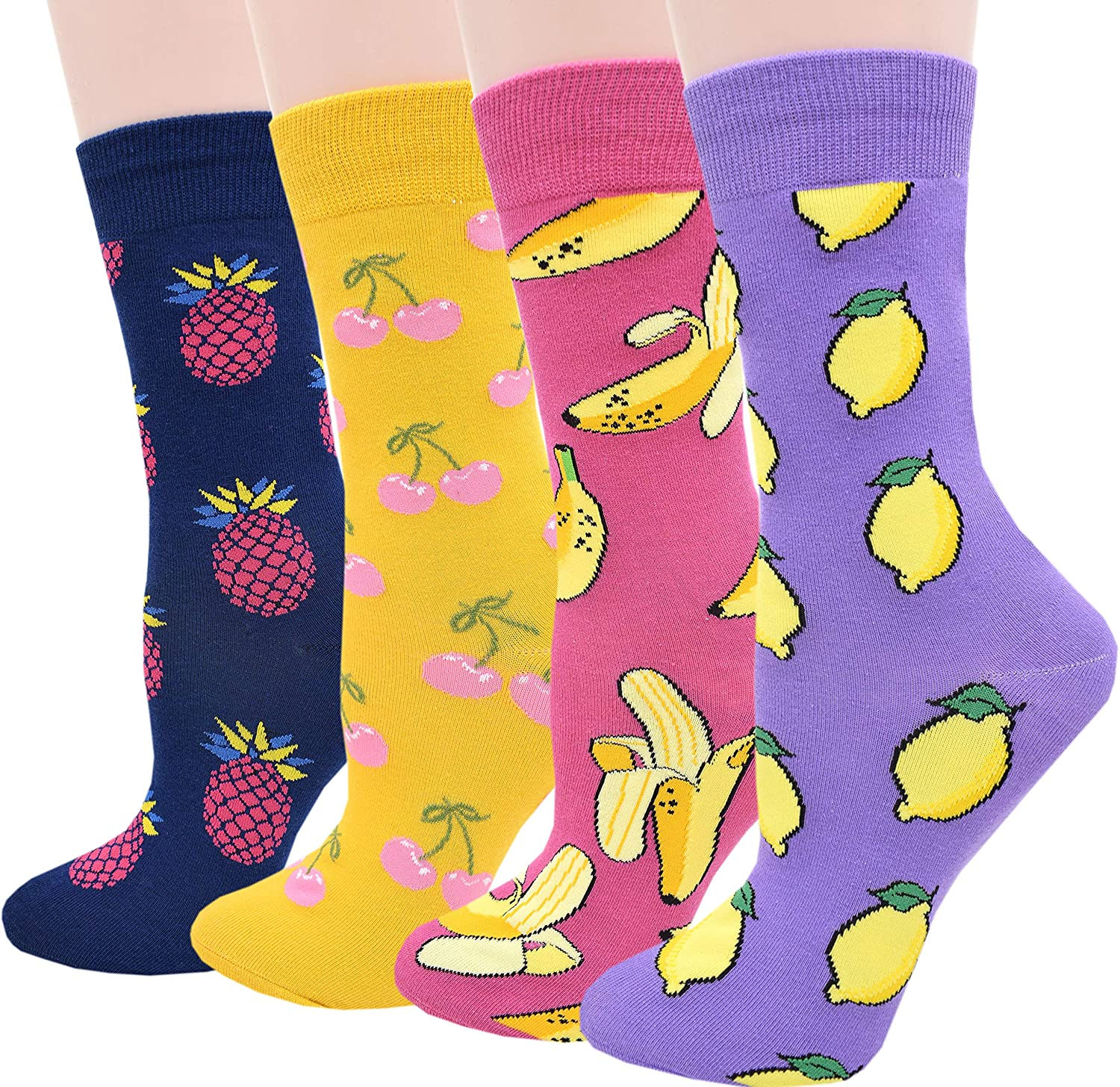 JMEETY Womens Fun Pattern Cotton Crew Socks