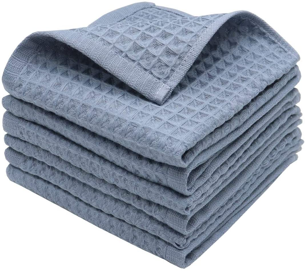 GQZLUCK 100% Natural Cotton Classic Waffle Weave Dish Cloths, Soft Ultra Absorbent Bath Hand FaceTowel, Fast Drying Lightweight Washcloth, Set of 6 (Airy Blue)