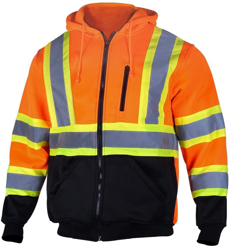 VENDACE Men's ANSI Class 3 High Vis Safety Reflective Sweatshirt Wool Fleece Zipper Jacket Hoodie with Black Bottom(Orange,XL)