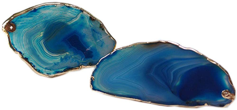 Iamagie Natural Agate Napkin Rings Holder, Dinning Table Decoration, for Everyday Celebration Wedding Party Banquet Reception Catering, Set of 2 (Blue)