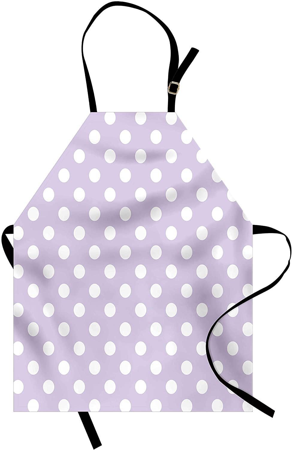 Lunarable Lavender Apron, Big White Polka Dots on Pastel Colored Background Retro Style Pattern Print, Unisex Kitchen Bib with Adjustable Neck for Cooking Gardening, Adult Size, Lavender White