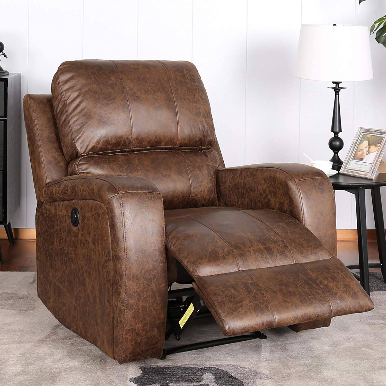 PovKeever Power Electric Bonded PU Leather Recliner Chair with USB Charge Port, Vintage Home Theater Seating,Classic Single Sofa Seat-Nut Brown