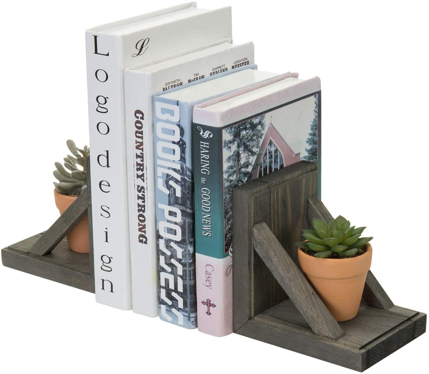 MyGift 2 Piece Set Vintage Gray Wood and Brass Metal Decorative Desktop Bookends