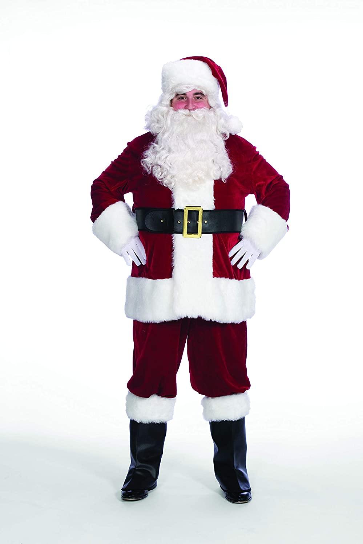 10-Piece Red Velveteen Christmas Santa Set - Adult Size XXXL