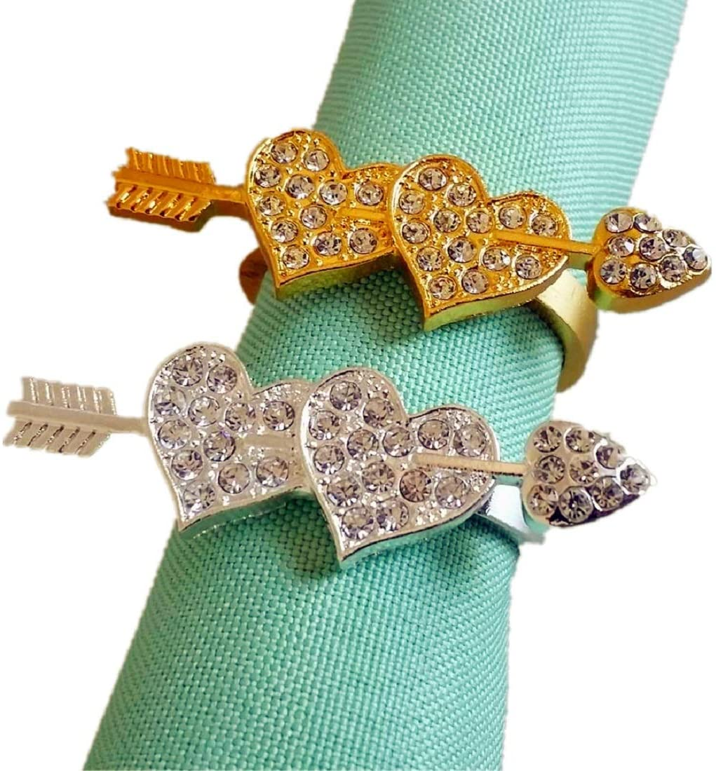 Elehere Set of 8 Flower Napkin Rings for Wedding Valentines Day,Gold, Kitchen Dinner Table Accessory (Silver Heart, 12)