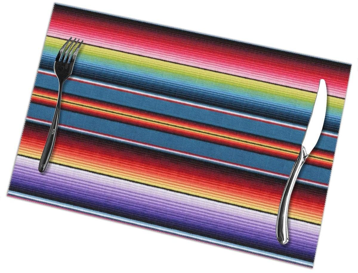 Efo99ec Colorful Mexican Blanket Stripes Supper Mats Set of 6,Heat Insulation Non Slip Placemats,Washable Easy to Clean Family Kitchen Place-mat for Dining Table (6pcs placemats)