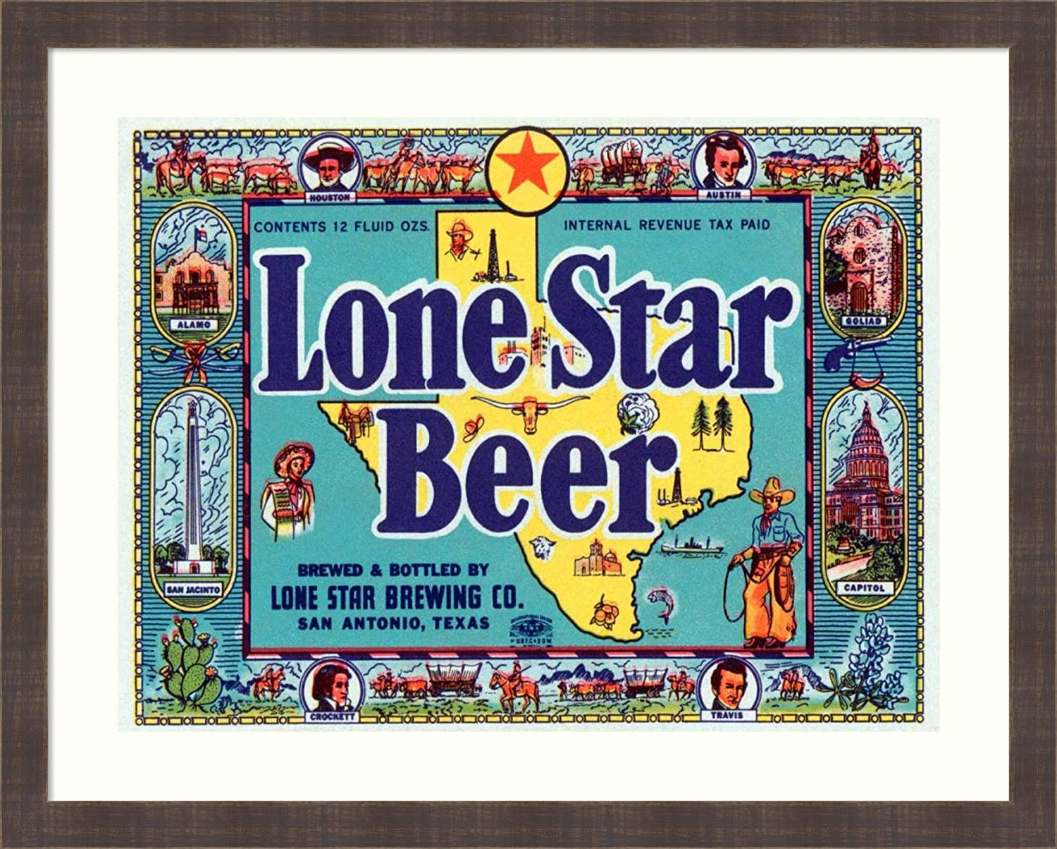 Framed Wall Art Print Lone Star Beer by Vintage Booze Labels 32.62 x 26.25 in.