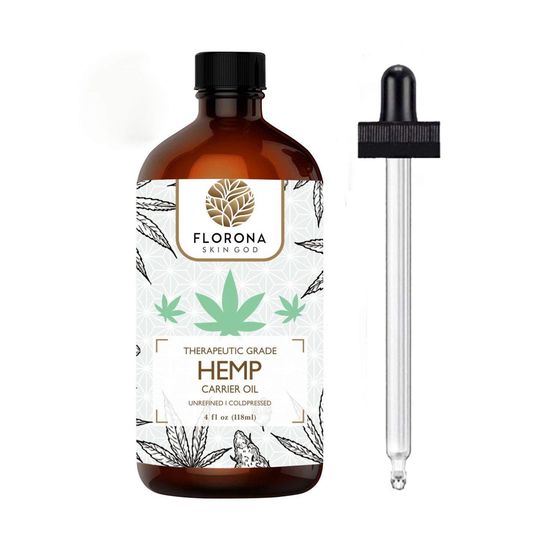 Florona Hemp Seed Oil - 4oz USDA Certified - Sativa Oil - Pure, Cold Pressed, Virgin, Unrefined, Vegan, Non-GMO, Food Grade, No Preservatives - High Omega 3 6 9 Fatty Acids, for Joints, Skin, Hair