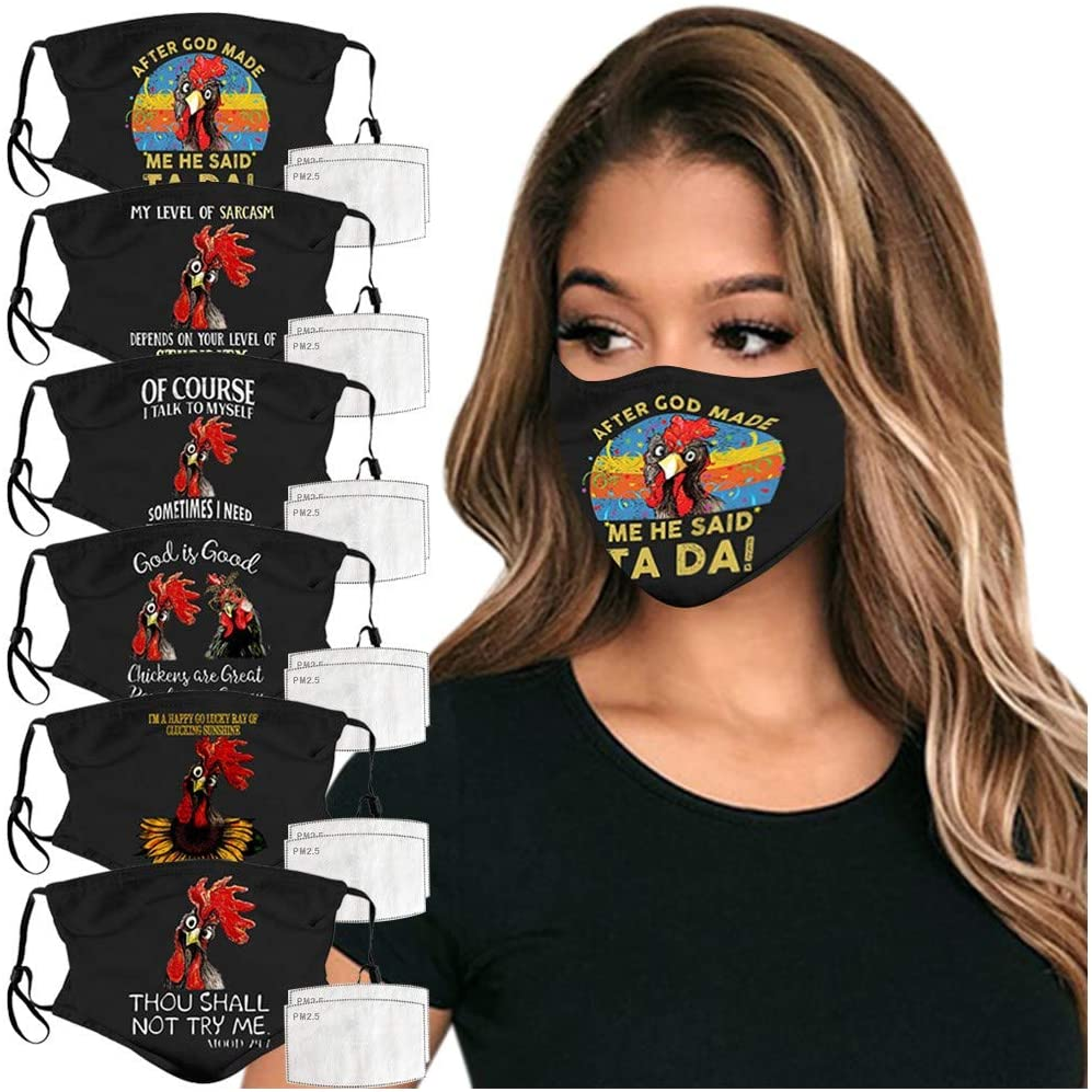 6Pcs Women/Men Protection Face Bandanas, 12Pcs Filter,Elasticity Earloops, Funny Alphabet Chicken Printed, Reusable/Washable Cotton Face Cloth Filter for Outdoor Sport Health