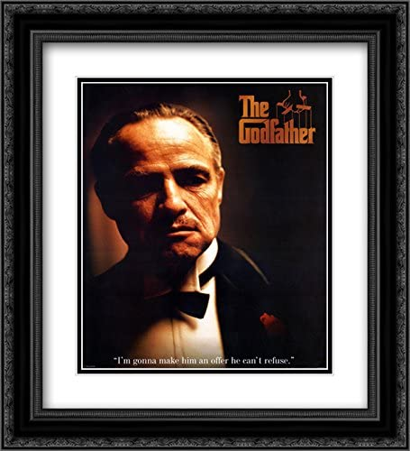 The Godfather Offer 20x24 Double Matted Black Ornate Framed Movie Poster Art Print