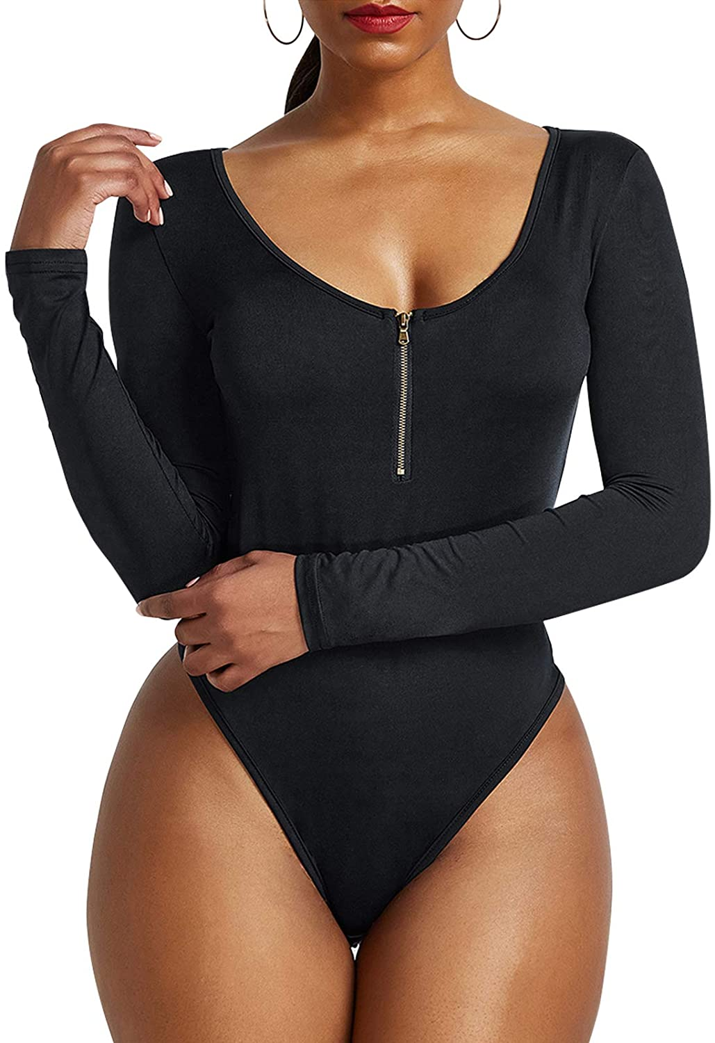 Century Star Womens Scoop Neck Long Sleeve Bodysuit Basic Body Suit Tops for Women with Zipper Sexy Leotard Jumpsuits