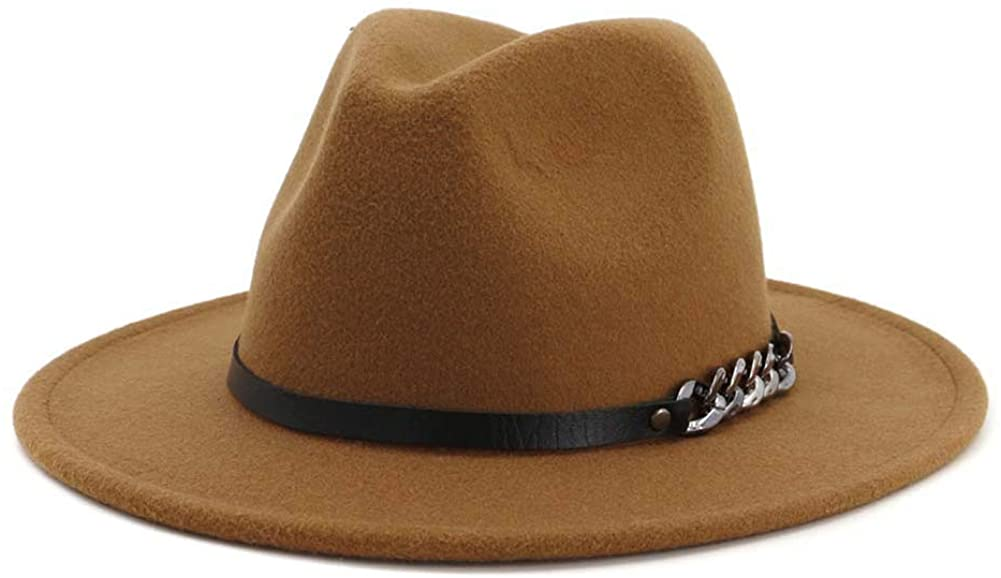 Men & Women Belt Buckle Fedora Hat Wide Brim Floppy Panama Hat