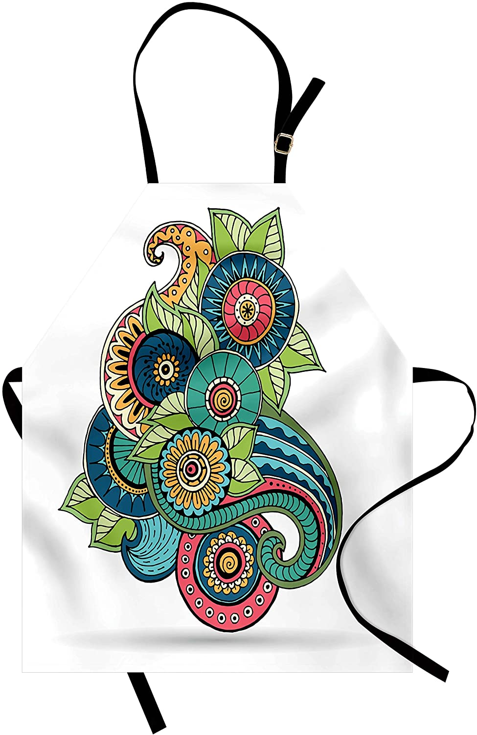 Ambesonne Leaf Apron, Floral Zentangle Pattern with Vibrant Colors Paisley Doodle Colorful, Unisex Kitchen Bib with Adjustable Neck for Cooking Gardening, Adult Size, Multicolor