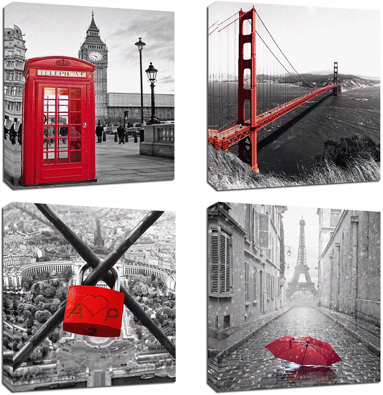 4Pcs 12x12 Canvas Wood Stretched Building City Golden Gate Bridge London Red Telephone Pavilion Eiffel Tower Frame Landscape Modern Art for Room Office Wall Decor Zen Yoga Ocean Beach Jetty inch