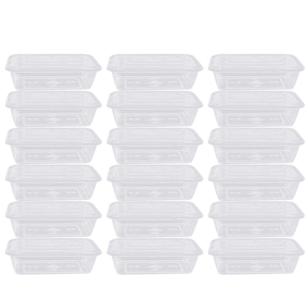 Hemoton 50pcs Disposable Bento Box Clear Fruit Salad Lunch Take Out Container with Lid Meal Food Packing Box for Camping Restaurant (750ml)