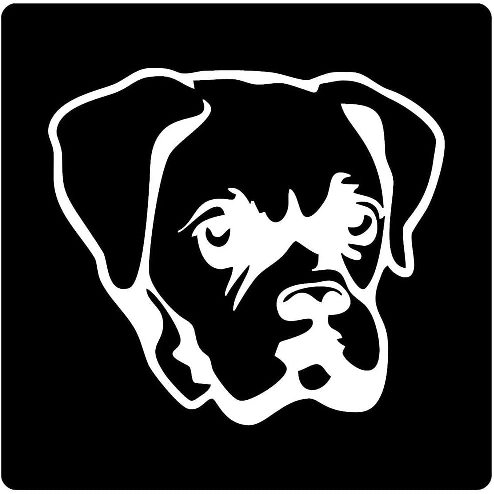 Set of 3 - Boxer Dog FACE - White - Sticker Graphic - Auto, Wall, Laptop, Cell, Truck Sticker for Windows, Cars, Trucks