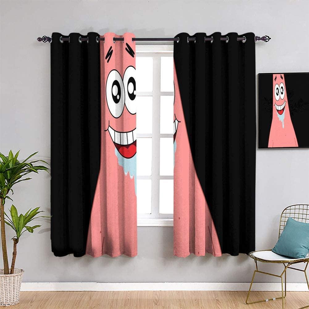 Hedda Clare Spongebob Squarepants Big Star Black TV Movie Blackout Curtains for Bedroom Thermal Insulating Blackout Curtain for Kids Rooms W42 x L45Inch Custom Design