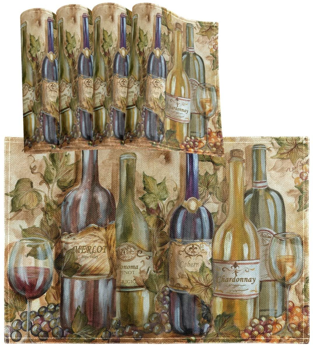 Oarencol Vintage Wine Glasses Placemat Table Mats Set of 4, Vineyard Colorful Painting Heat-Resistant Washable Clean Kitchen Place Mats for Dining Table Decoration