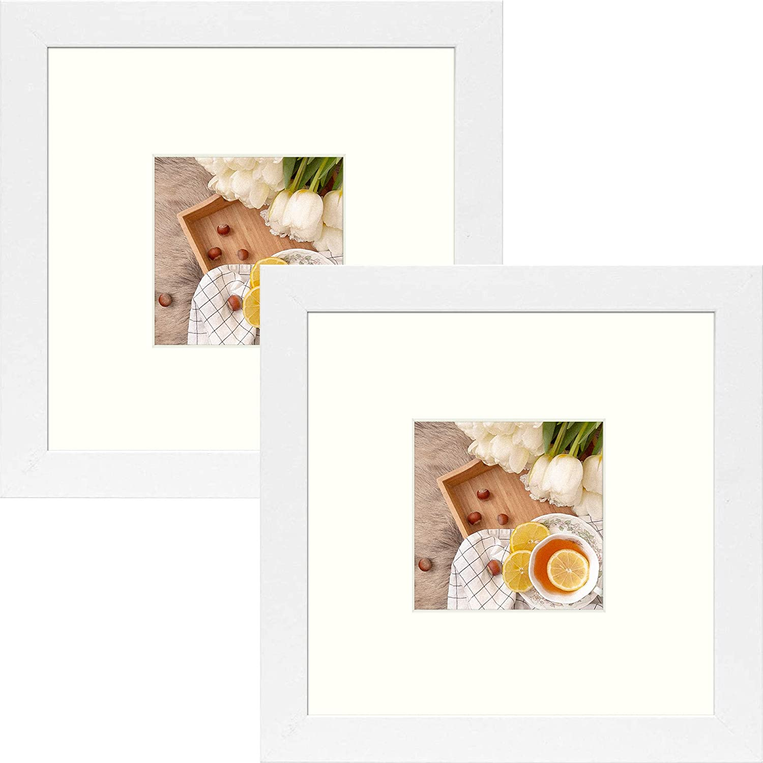 Frametory, 8x8 Square, Instagram Picture Frame - Made to Display Pictures 4x4 Photo with Ivory Color Mat - Wide Molding - Preinstalled Wall Mounting Hardware (2, White)