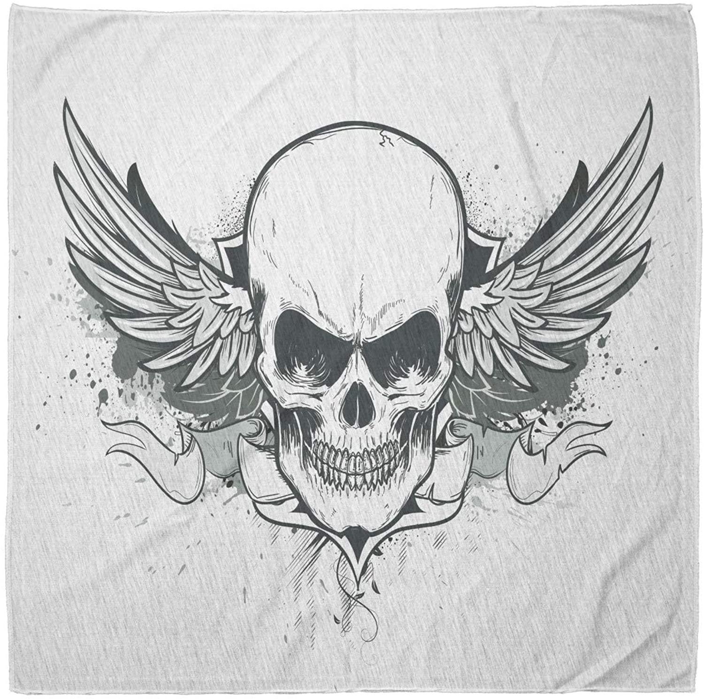 Lunarable Unisex Bandana, Skull Double Winged Skeleton Latin, Charcoal Grey White