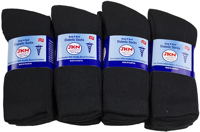 12 Pack Physician Approved Diabetic Circulatory Neuropathy Crew Socks for Men & Women by JKN (Black, 10-13)
