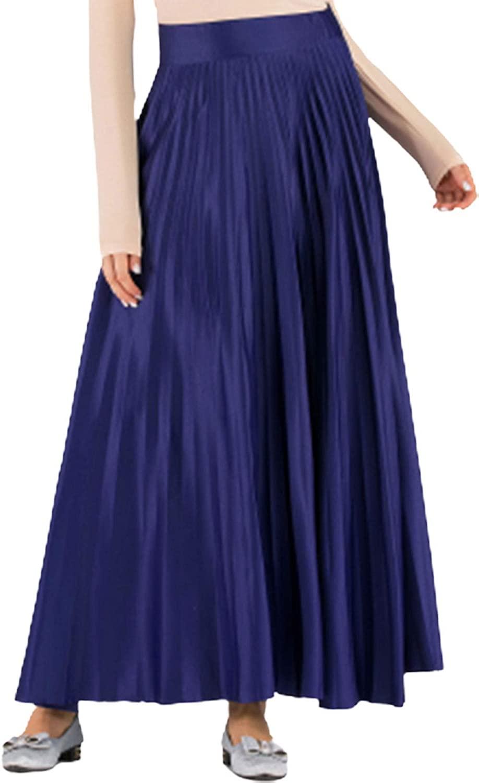 chouyatou Womens Elegant High Waist Pleated A-Line Flowy Flared Maxi Long Skirts