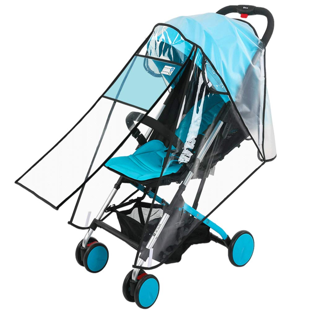 Universal Baby Stroller Rain Cover, Double Zipper with Eye Screen,Windproof,Dustproof, Rain and Snowproof Stroller Cover,Ventilated High-Definition Transparent Baby Travel Windproof and Insect Cover