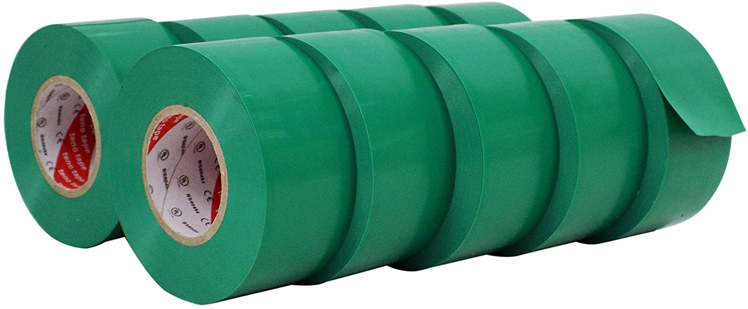 WOD ETC766 Professional Grade General Purpose Green Electrical Tape UL/CSA listed core. Vinyl Rubber Adhesive Electrical Tape: 1.5 inch X 66 ft - Use At No More Than 600V & 176F (Pack of 10)