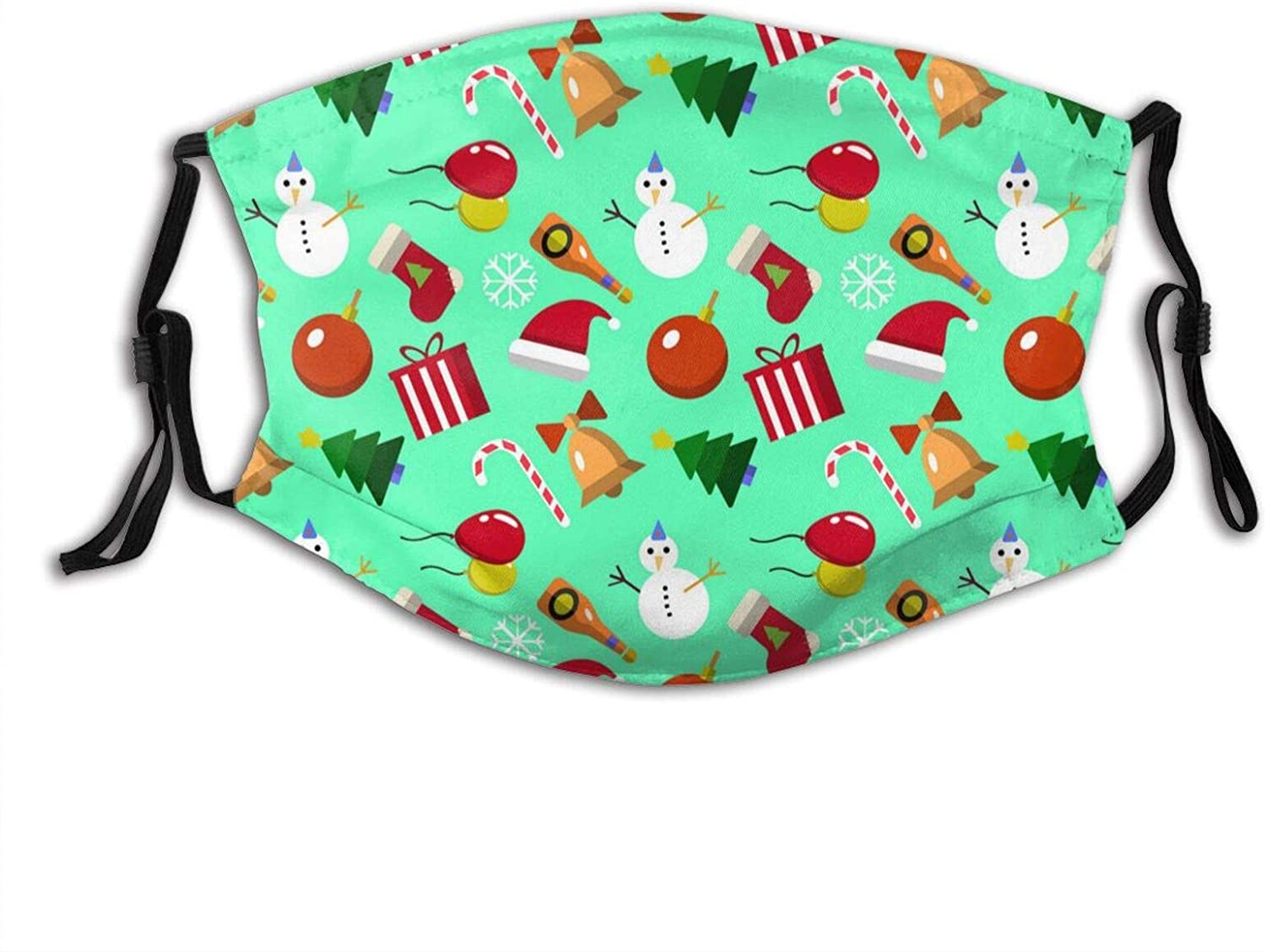 Diversity Christmas Element - Face Mask Scarf, Washable Reusable Bandanas With 2 Filters, For Men & Women Outdoor
