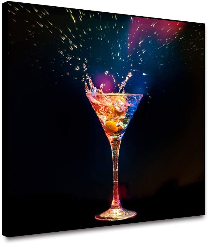 OERJU Cocktail Canvas Wall Art Champagne Colorful Wine in Glasses Cup Black and White Wine Paintings for Modern Home Kitchen Restaurant Bar Cellar Decor Pictures Print on Canvas Framed 18x12inch