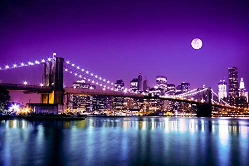 New York City, New York - Brooklyn Bridge with Skyline and Moon - Photography A-91953 (9x12 Art Print, Wall Decor Travel Poster)