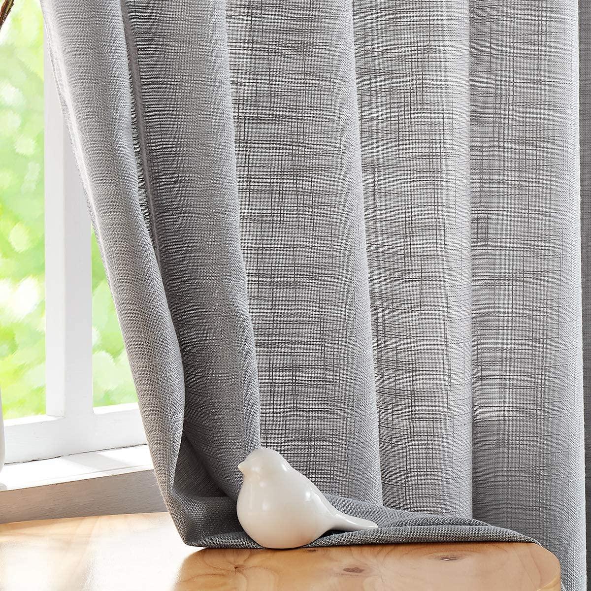 "Fmfunctex Grey Sheer Curtains for Living Room Bedroom Linen Textured Semi-Sheer Window Curtain Drapes 84-inch Length 52""w 2 Panels Grommet Top"