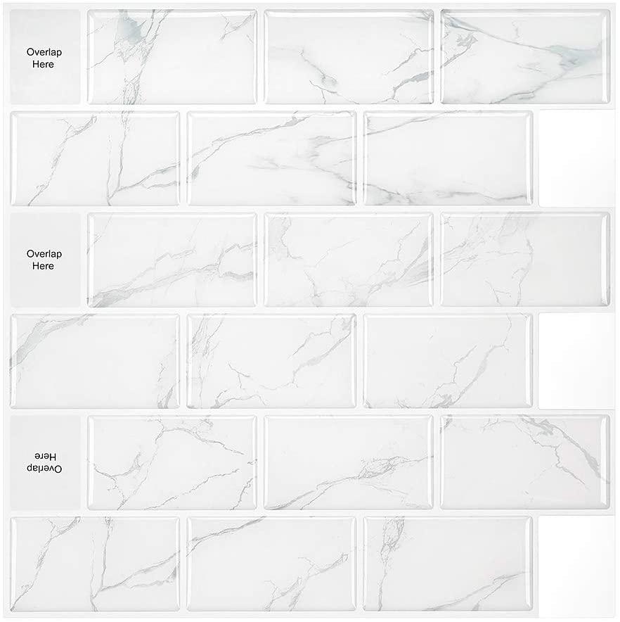 M MORCART 5-Sheet Peel and Stick Backsplash, Stick on Tiles Kitchen Bathroom Shower (12