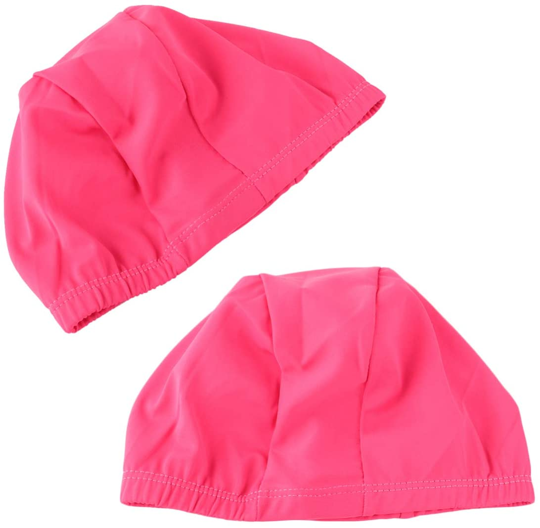 LIOOBO 2pcs Swim Caps Stretchable Polyester Fit Swimming Shower Hats for Adult Men Women Long Hair (Black Sapphire Blue Sky Blue Rosy