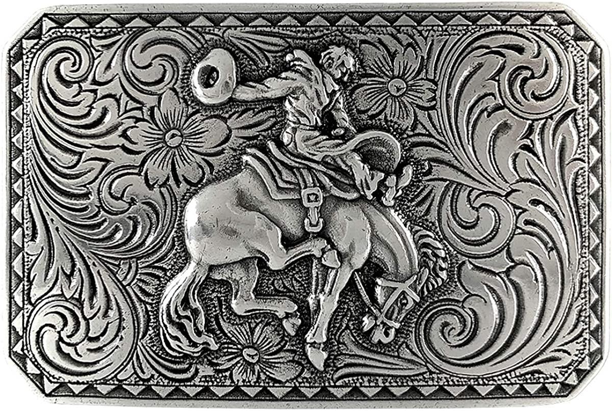 Engraved Bronco Rider Cowboy Western Belt Buckle