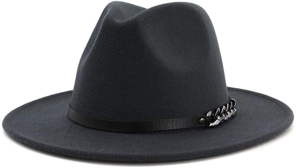 Men & Women Belt Buckle Fedora Hat Wide Brim Floppy Panama Hat