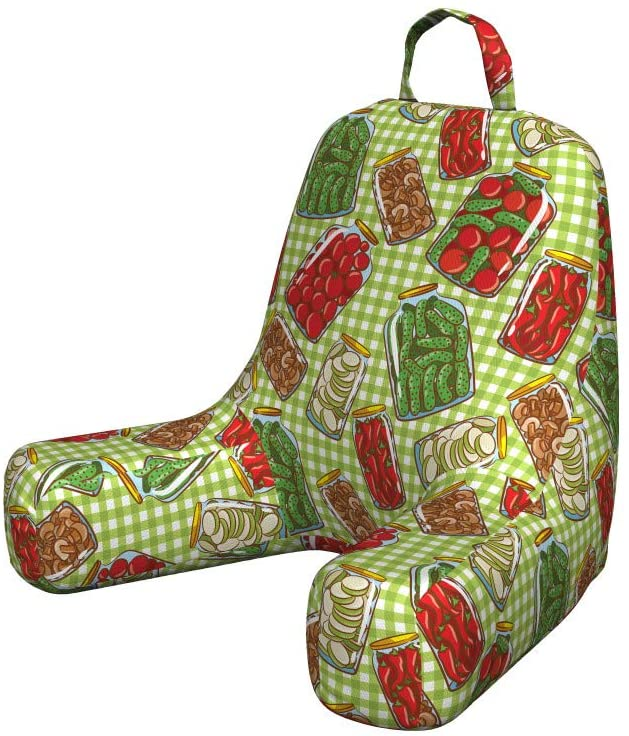 Lunarable Vintage Reading Pillow Cover, Vintage Pattern with Glass Jars Kitchenware Pickles Picnic Retro Cafe Home, Unstuffed Printed Bed Rest Case from Soft Fabric, Small, Green Red White