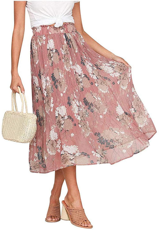 Womens Floral Flowers Print Split Skirt Beach Ladies Pleated Skirt Women's Skirt