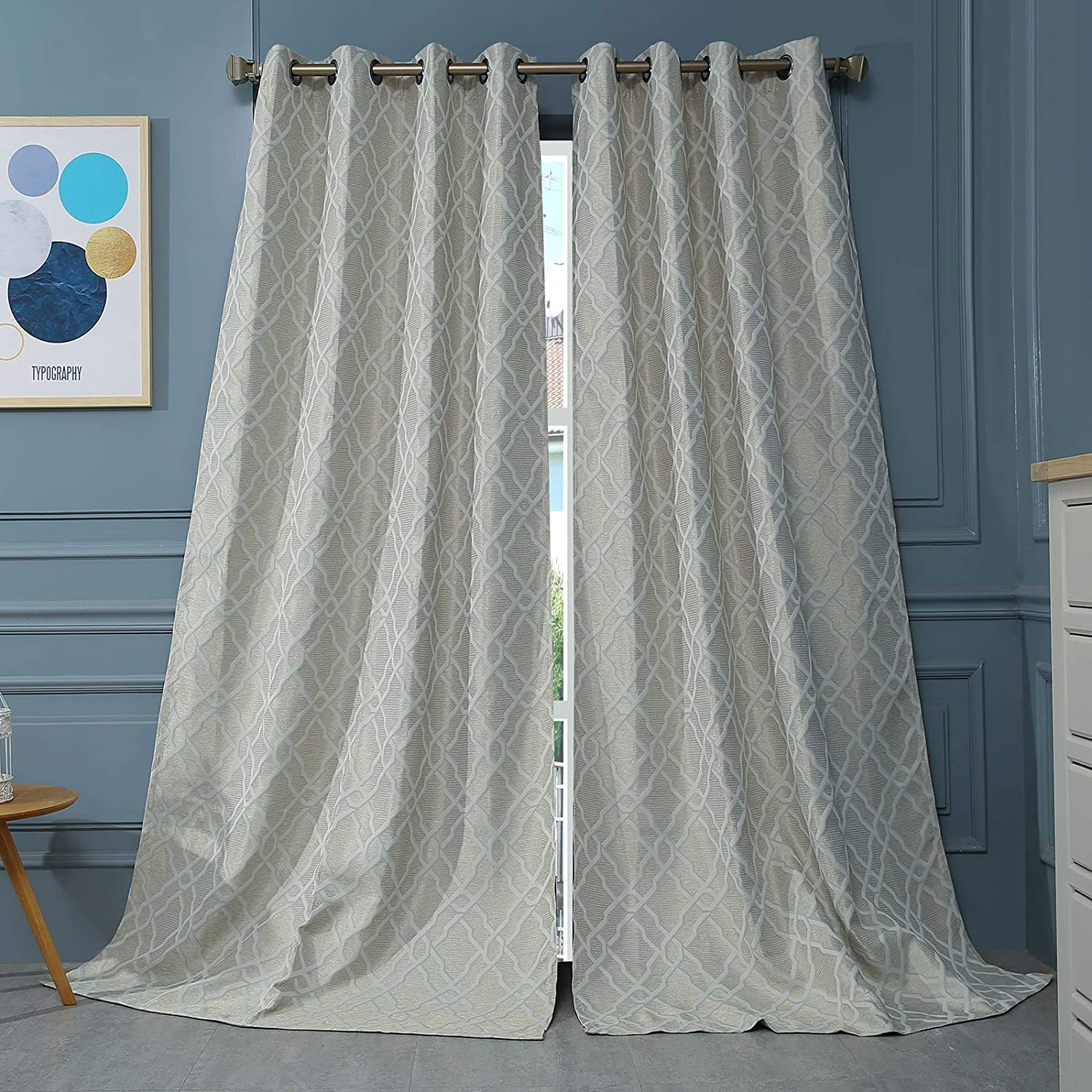 MODERNOVIA 52x95 inch Champagne Room Darkening Curtain Grommet Pattern Drape for Living Room and Bedroom Thermal Insulated 2 Panels