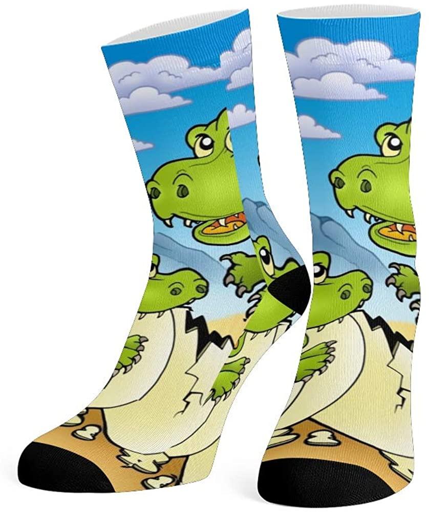 XOZOTY Custom Funny Novelty Cartoon Dinosaur Forest Crew Socks for Mens Womens