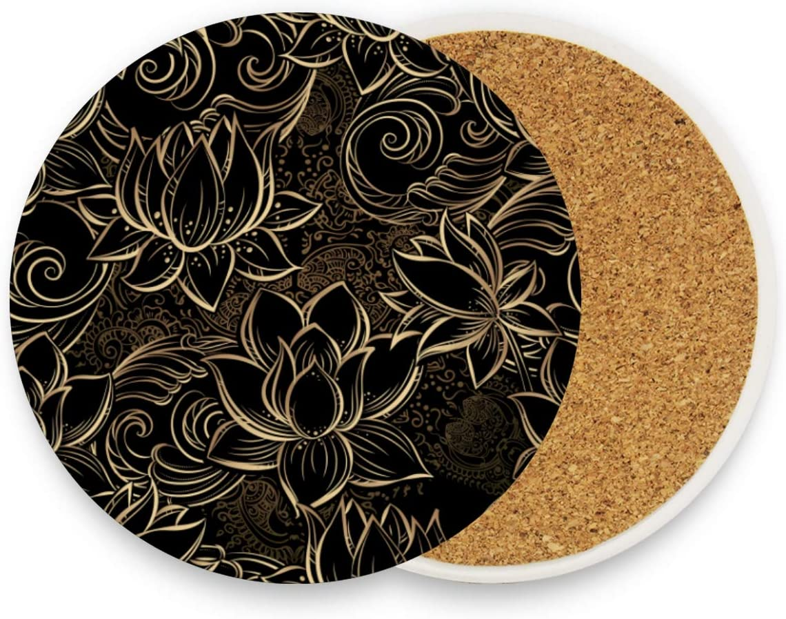 visesunny Black Lotus Floral Drink Coaster Moisture Absorbing Stone Coasters with Cork Base for Tabletop Protection Prevent Furniture Damage, 1 Piece