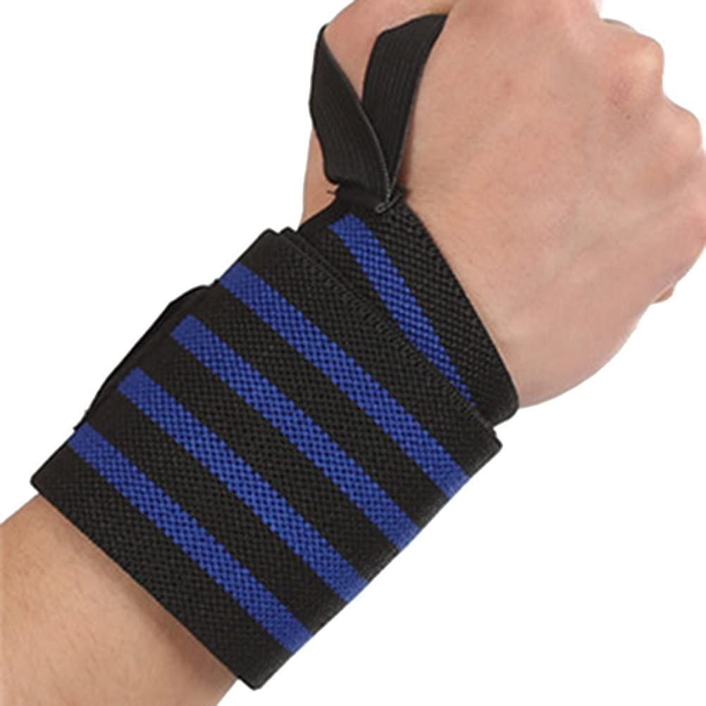 ROSENICE Sports Weight Lifting Wrist Wraps Supports with Thumb Loop for Men and Women 57 x 8cm (Blue)
