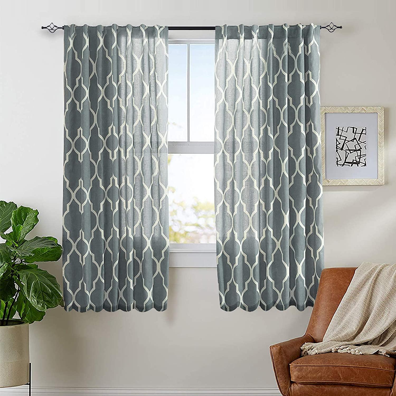 jinchan Moroccan Tile Print Curtains for Living Room Curtain - Quatrefoil Flax Linen Blend Textured Rod Pocket Lattice Window Curtain Set for Bedroom Geometry - 63