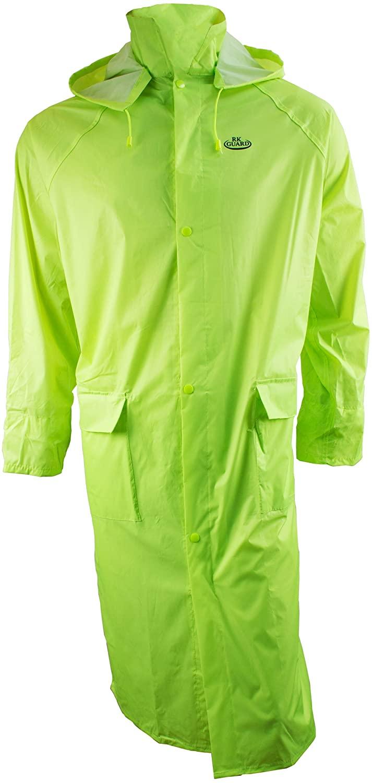 RK Safety RC-PP-HIG44 Hi-vis Green PVC Polyester Trench Rain Long Coat With Hoodie(Hi-vis Green, Medium)