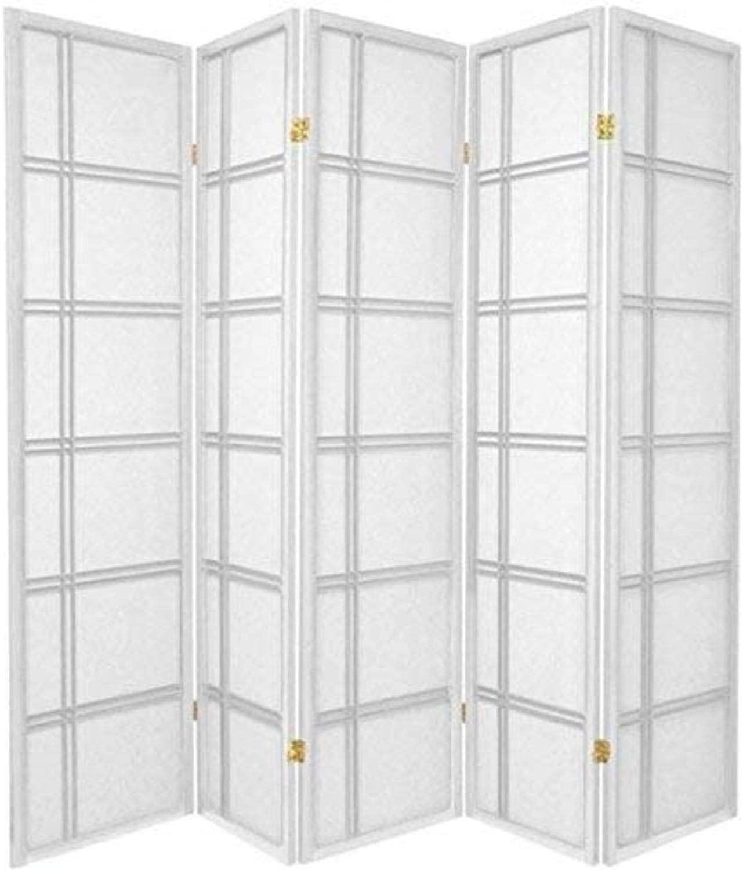Oriental Furniture 6 ft. Tall Double Cross Shoji Screen - White - 5 Panels