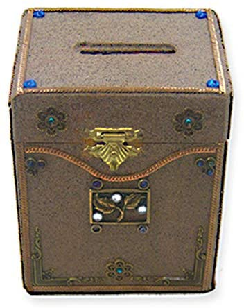 Brown Textured Wood Tzedakah Charity Box Decorated With Blue & White Stones & Flowers & Leaves Size: 5